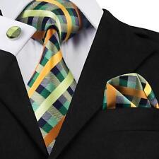 USA Classic Green Plaids Mens Silk Tie Necktie Pocket Square Cufflinks Set S-218