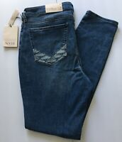 NYDJ Skinny Jeans 12 Ami Stretch Ankle Lift&Tuck Ikat Embroidery Denim Blue $119