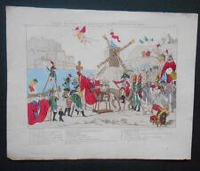 Gravure XIXème - Caricature - Marche du Don Quichotte Moderne
