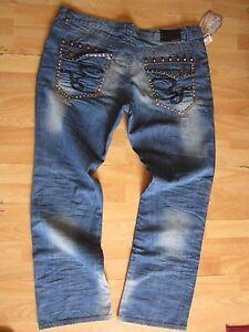 BLUE DENIM JEAN PANTS HIGH END RELAX FIT BLUE DENIM JEAN PANTS 44Wx33L
