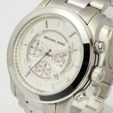 Michael Kors MK8086 Runway Oversized Silver-Tone Chronograph Mens Watch MK8086