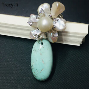 Fashion 14k yellow gold freshwater pearl natural turquoise gorgeous brooch pin