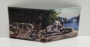 Wolf Pack Print on Handcrafted Wallet BI-Fold Men's Vegan Leather