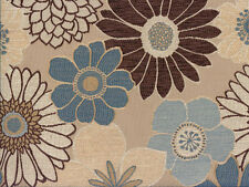 Designer Upholstery Fabric Heavy Wt. Chenille Jacquard Floral - Natural Multi
