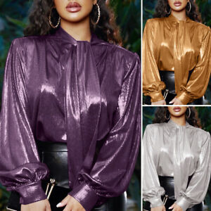US Womens Formal OL Long Sleeve High Neck Solid Satin Silky Tops Shirt Blouse