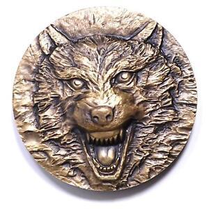 China Shenyang Mint 2015 Animal Series Wolf Totem Brass Medal 60mm COA