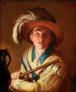 Abraham Bloemaert The flute player Poster Reproduction Giclee Canvas Print
