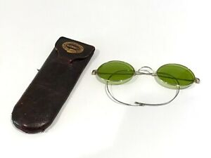 ANTIQUE CASED GREEN TINTED SPECTACLES.