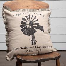 Sawyer Mill Charcoal Windmill Accent Pillow 18x18 Black Stencil Khaki Chambray