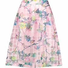 Lovely Pink Floral Mesh Party High Waist Midi Skirt Size 10 Look