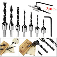 7 Pcs Wood 5 Flute HSS Countersink Drill Bit Kit 3 4 5 6 7 8 10mm Carpentry Tool