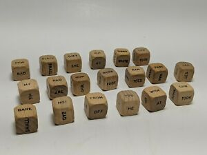 1971 SCRABBLE Sentence game parts 19 vintage wood word cubes art crafts jewelry
