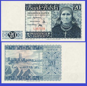 Poland 20 zloty 1939 UNC - Reproduction