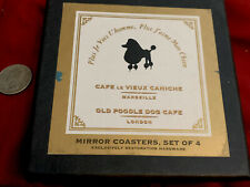 Restoration Hardware Old Poodle Dog Mirror Coasters New Without Tags. 4 Coasters
