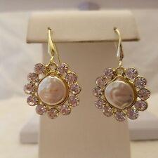 Crystal and Pearl Hook Earrings