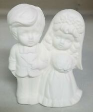 Vintage Ceramic Bisque Bride and Groom Cake Topper Ready To Paint New Old Stock