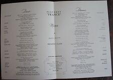 MENU PAQUEBOT FRANCE. Première classe, dimanche 4 Mars 1962.