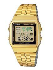Casio Watch * A500WGA-1 Vintage Illuminator World Map Gold Steel COD PayPal