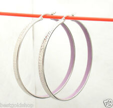 "2"" Diamond Cut Round Hoop Earrings with Purple Enamel Real 925 Sterling Silver"