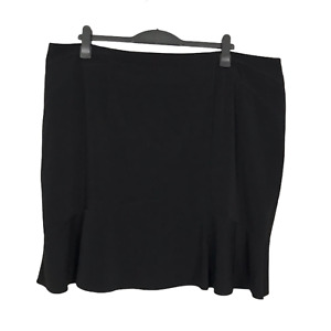 M&S Collection Plus Size 22 Black Zip Closure Lined Knee Length Trumpet Skirt