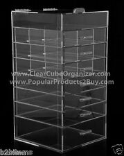 Acrylic Lucite Clear Cube Makeup Organizer The Kardashians Display 7 plus lid