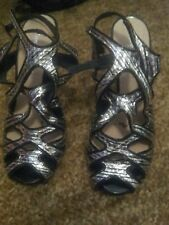 Wittner womens size 5 black and silver heeled sandals