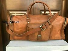 Real Brown lightweight Leather Duffel Holdall Gym Bag Weekend Travel Luggage Bag
