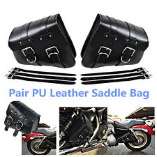 Portable Motorcycle PU Leather Left& Right Side Bag Saddle Bags Black For Harley