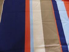Sandberg Melker Navy Blue Orange Scandi Stripe Fabric Remnant Off cut