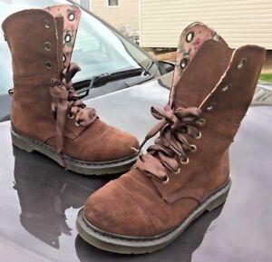 Dr Martens brown aimilie triumph suede leather boots UK 9 EU 43