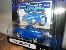 1940 WILLYS pickup Muscle Machine hood scoop street rod  BLUE funline1:64