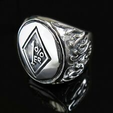 Silver Fire Flame 1% ER Hell Crazy Outlaw Ring for Harley 81 Angels Biker TR166