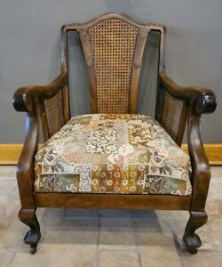 Antique Walnut + Wicker + Burlwood Arm Chair | Original and Gorgeous Surfaces