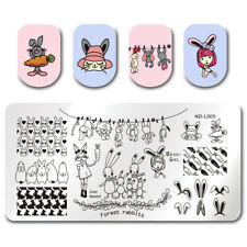 Nail Art Stamping Plate Image Decoration Easter Bunny Rabbits Carrots (NDL005)