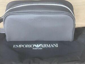 BRAND NEW 100% GENUINE EMPORIO ARMANI GREY TOILETRY WASH SHAVING TRAVEL KIT BAG