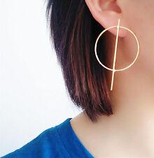 14K Yellow Gold Plated Hoop Drop Fashion Earrings 071