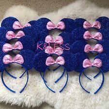 Minnie Mickey Mouse Ear Headband 24pc Shiny BLUE Pink Birthday Party Costume DIY