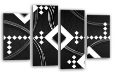 LARGE ABSTRACT ART Picture Black White Grey Wall Canvas Print Split Panel