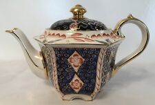 Sadler Teapot No 1624 Blue & Gold with Red Flower design in very Good Condition
