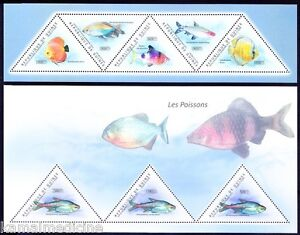 Guinea 2011 MNH 2SS Set, Poisonous fish, Odd unusual Triangle shape Stamps