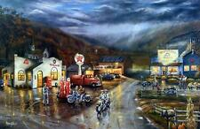 """Ray Mertes """"Family Reunion"""" Motorcylce Gas Station Art Print Signed & Numbered"""
