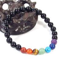 7 Chakra Reiki Natural Gemstone Crystal Healing Stretchy Energy Bracelet 6mm 8mm