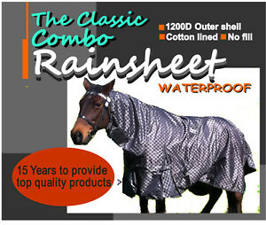 "COMFORT THE CLASSIC PADDOCK RAINSHEET HORSE COMBO RUG ""POSTAGE FREE"""
