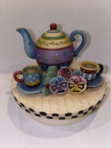 Our America Debbie Mumm Pansy Tea Set Yankee Candle Jar Topper