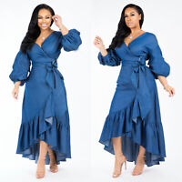 Women Fashion V Neck Puff Sleeve Blue Denim Ruffled Irregular Dress with Belt