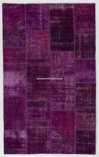 Purple & Lavender PATCHWORK RUG, Handmade from OVERDYED Vintage Turkish Carpets