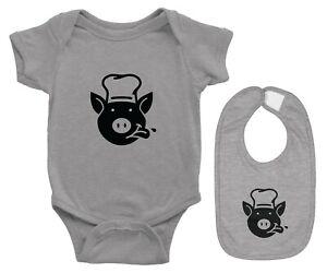 Cute Piggy Baby Bodysuit Shirt One Pieces & Bib Set Romper Gift Eating Feeding