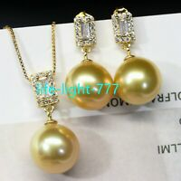 huge AAA 16mm round natural South Sea gold shell  Pearl Earrings + pendant