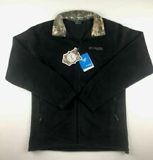 Columbia PHG Mens Large Hunting Black Realtree Camo Fleece Full Zip Soft Jacket