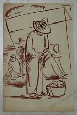 Ink drawing signed DIEGO RIVERA